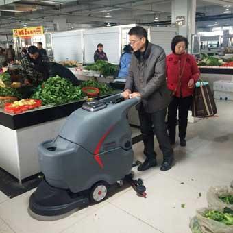 手推式洗地机在菜场生鲜市场的应用案例