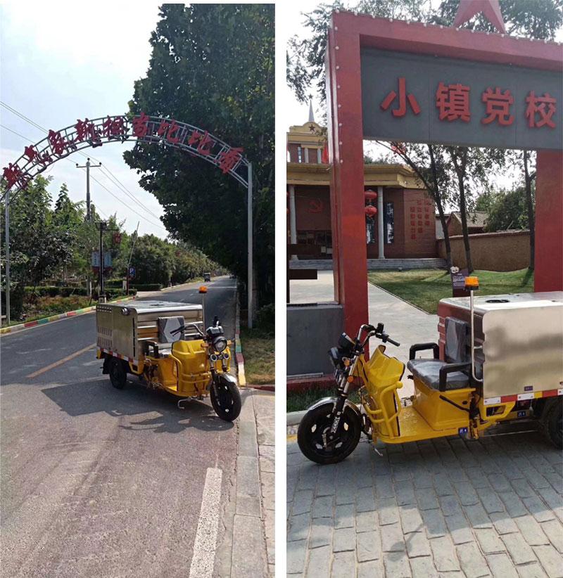 新農村的物業保潔使用環衛電動高壓清洗車