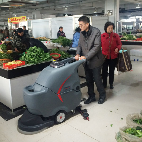 GM-50B手推式洗地机用于菜场日常地面清洗