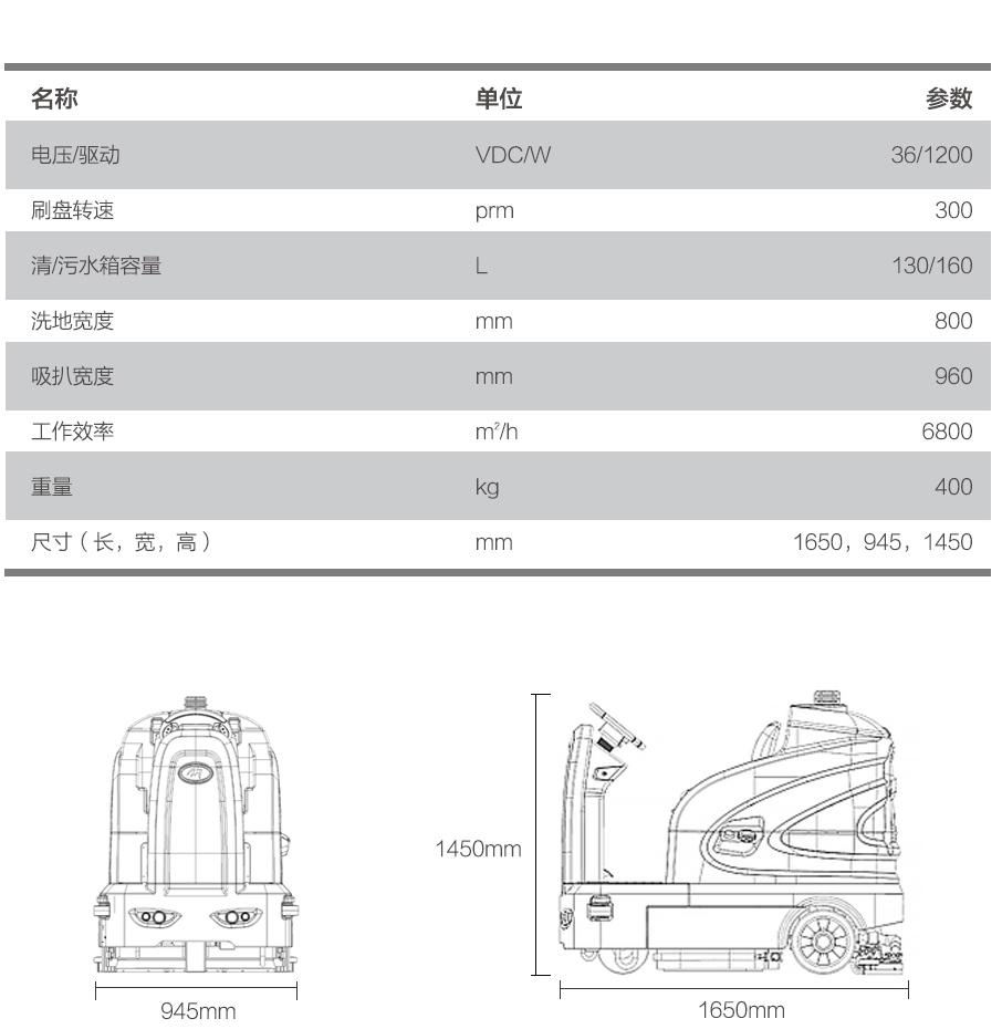 S-160驾驶式洗地车产品参数