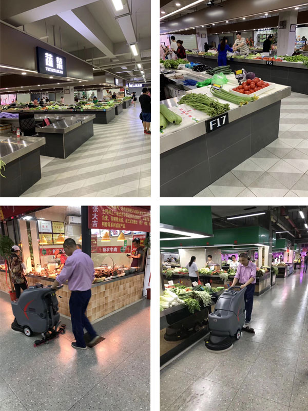 全自动洗地机清洁生鲜菜市场